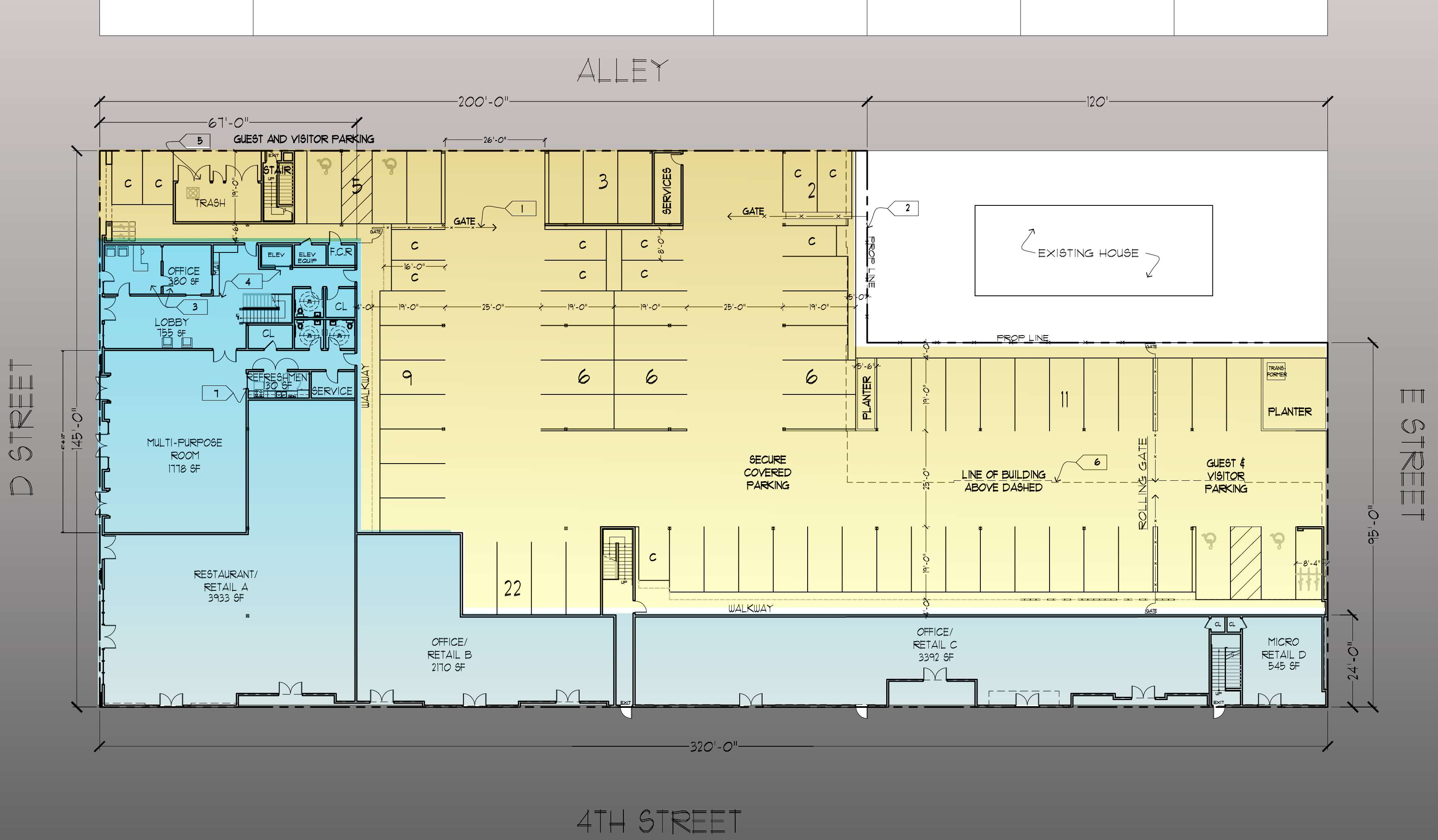 First Floor plan with parking and retail and streets.jpg